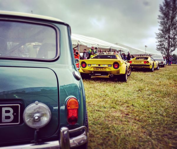 Mini Mk1 Mini CooperS Lancia Stratos Escortmk2 Ferrari Cholmondeley Castle Hillclimb Pits