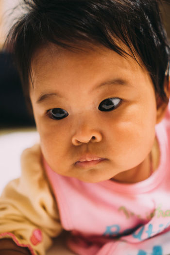 Close-up portrait of cute baby