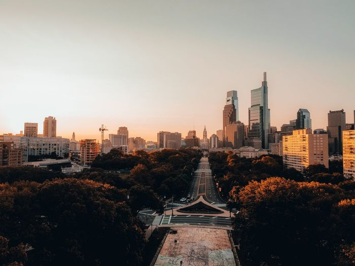 View of city buildings against clear sky in philadelphia