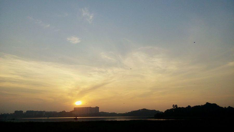 Sunset Sunset Silhouettes Landscape Lakeshore