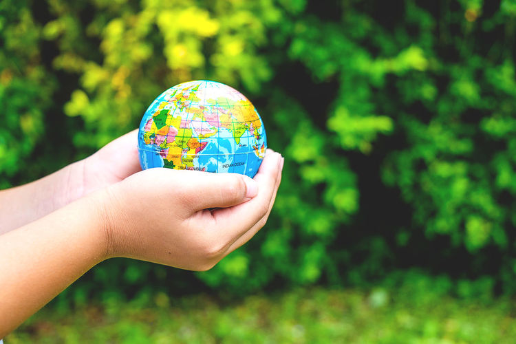 Cropped hands of child holding globe against plants in park