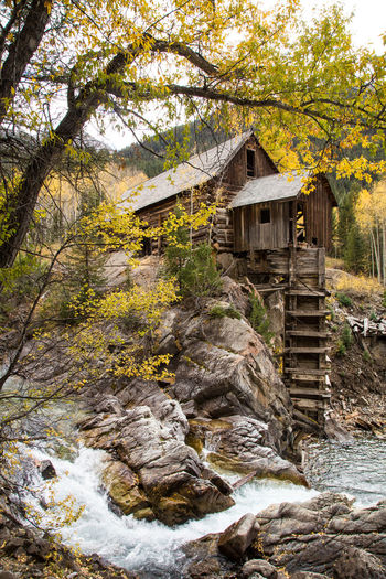 Crystal mill in fall Abandoned Buildings Aspen Trees Building Exterior Built Structure Day History No People Outdoors River Tree Waterfall