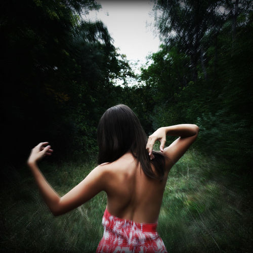 Artistic Photo Back View Beautiful Girl In The Forest Carefree Conceptual Photography  Creative Photography Enjoyment Fun Girl Happiness In The Forest Leisure Activity Lifestyles Person Perspective Pretty Girl Real People Shirtless Standing Three Quarter Length Vacations Young Adult Young Woman Young Women