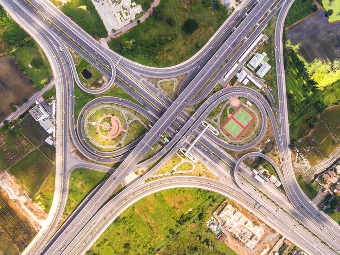 Directly above shot of highways in city
