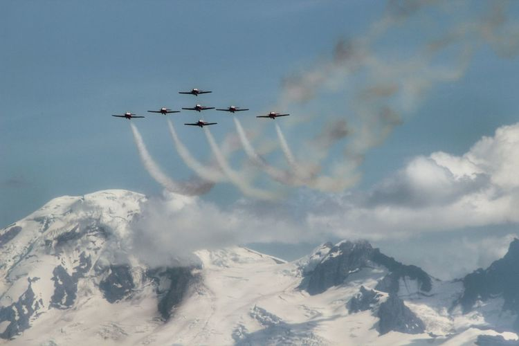 Airshow Over Snow Covered Mountains Against Sky