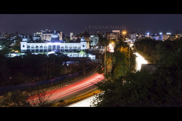 Long Exposure Light Trail High Angle View Telangana Bhavan Photowalk Photography In Motion Night Illuminated Cityscape First Eyeem Photo