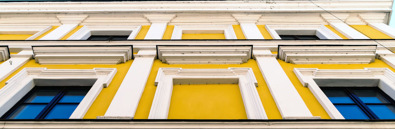 Yellow Architecture No People In A Row Building Exterior Side By Side Full Frame Built Structure Close-up Low Angle View Day Building Window Outdoors Pattern Repetition Order Backgrounds City Large Group Of Objects My Best Photo