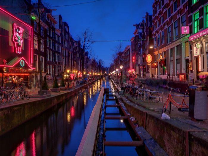 Amsterdam Illuminated Reflection City Urban Skyline Neon Nightlife RedLightDestrict