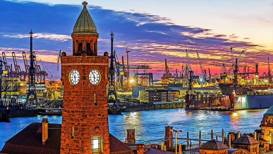 Architecture Sky Water Built Structure Transportation Nautical Vessel Sunset Building Exterior Mode Of Transportation Cloud - Sky Nature Illuminated Travel No People Travel Destinations Waterfront Tower Building Sea Outdoors Clock Cartoon