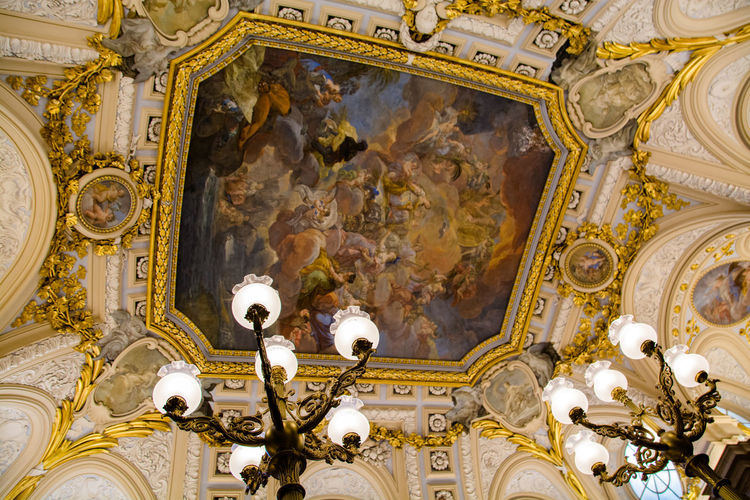 Painting on ceiling at royal palace of madrid