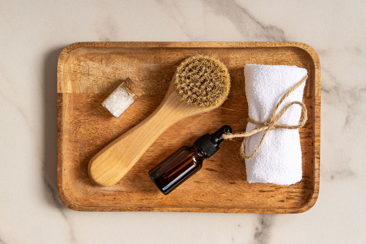 High angle view of bread and knife on cutting board