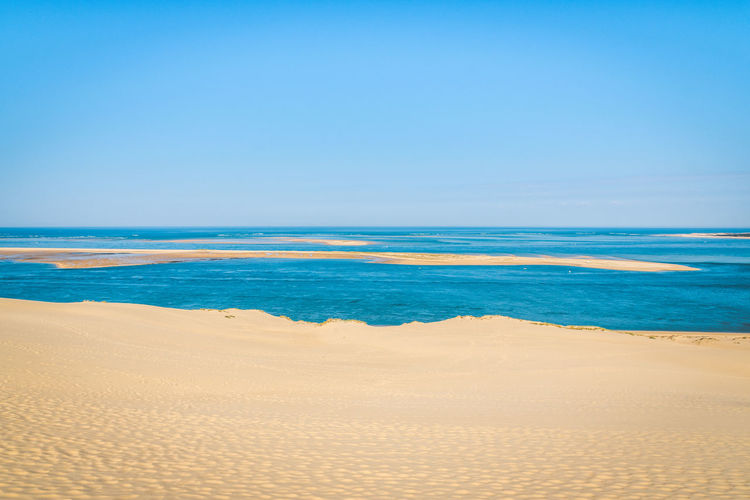 Land Sea Water Sand Scenics - Nature Sky Beach Beauty In Nature Tranquility Tranquil Scene Horizon Horizon Over Water Nature Copy Space Clear Sky Blue No People Idyllic Day Outdoors