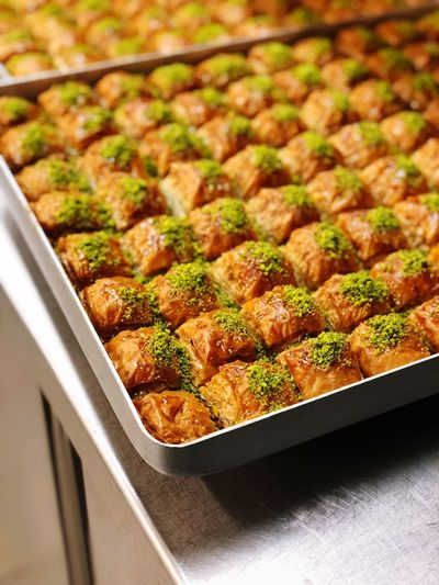 High angle view of food in baking sheet