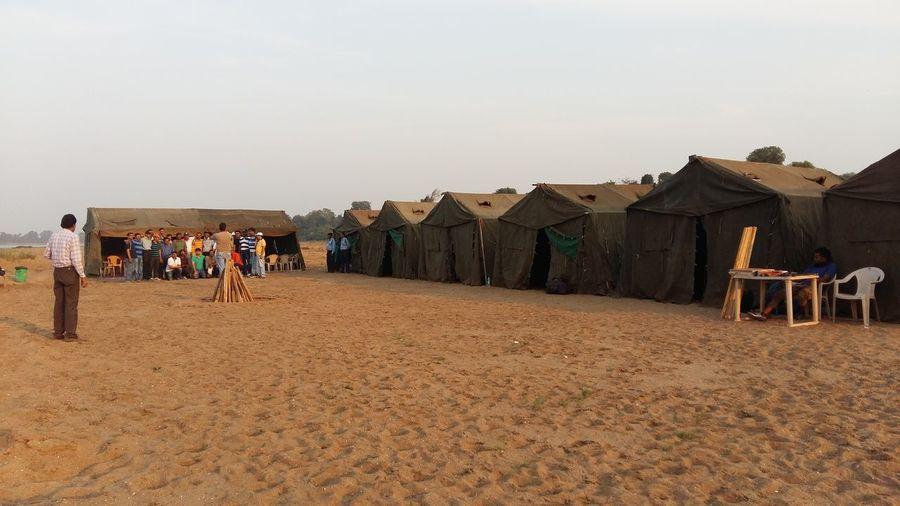 Camping at Narmada bank MP.
