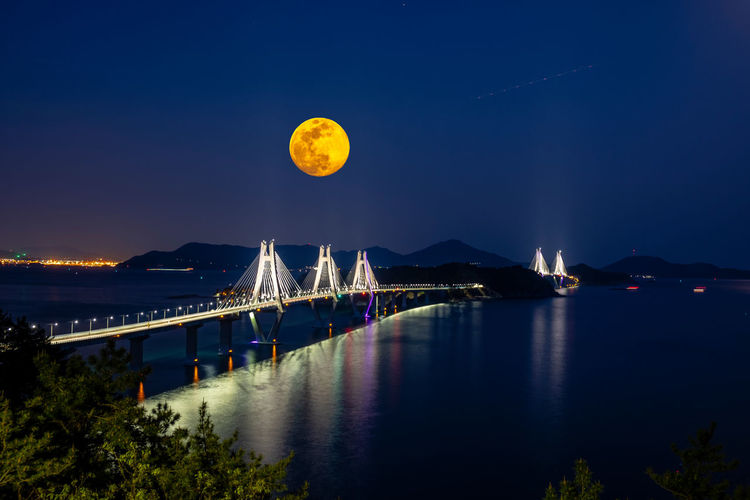 Nightscape of bridge, sea and island Water Sky Illuminated Night Beauty In Nature Nature Transportation Scenics - Nature No People Moon Bridge Architecture Connection Tranquility Full Moon Tranquil Scene Reflection Built Structure Bridge - Man Made Structure Outdoors Astronomy Bay Moonlight