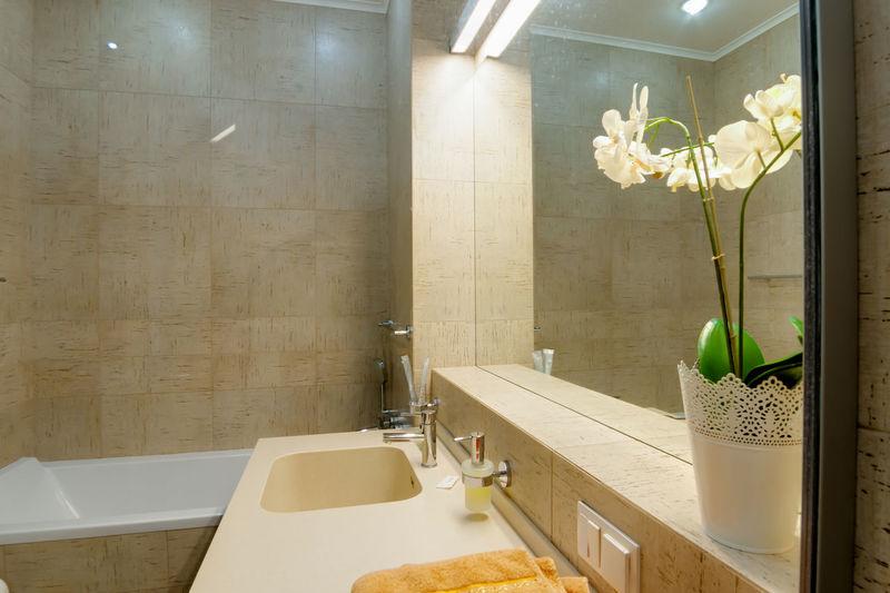 Bathroom Domestic Bathroom Home Indoors  Mirror Plant Flower Sink Flowering Plant Domestic Room Hygiene Luxury Nature Faucet Home Interior Home Showcase Interior Wealth No People Household Equipment Bathtub Modern