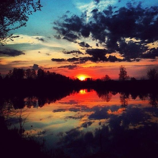 Reflection Tree Sunset Cloud - Sky Nature Multi Colored Beauty In Nature No People Scenics Lake Water