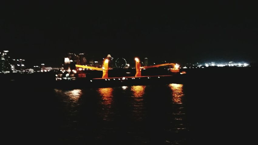 When in Singapore. Water Reflection Night Bridge - Man Made Structure Ships Anchorage Illuminated Scattered Light