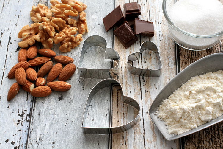 Chocolate Cookies Sugar Almonds Baking Close-up Cookie Cutters Day Flour Food Food And Drink Healthy Eating Heart High Angle View Indoors  Ingredient No People Walnut