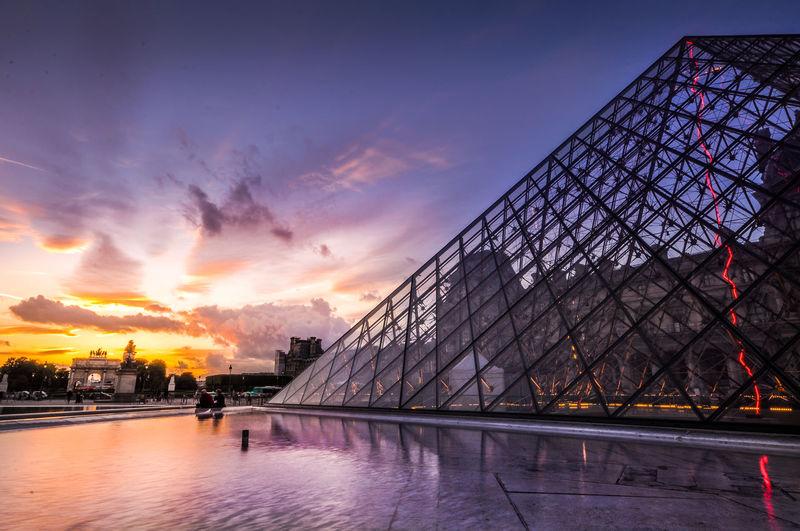 Architecture Cloud Cloud - Sky Colors Louvre Paris Sky Sunset