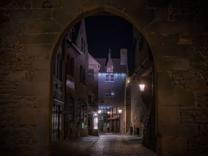 France Historical Building Mont Saint-Michel Normandie Road Ancient Architecture Architecture Building Built Structure Historic Long Exposure Mont Saint-Michel Abbey Night No People Streetphotography The Way Forward