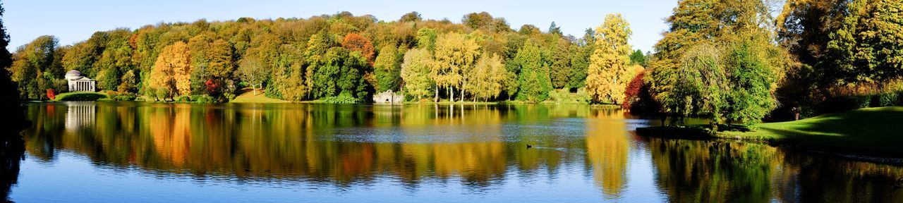 National Trust Stourhead in autumn Plant Tree Reflection Water Beauty In Nature Lake Growth Tranquility Nature Waterfront Scenics - Nature Tranquil Scene Day Sky Outdoors Idyllic Non-urban Scene