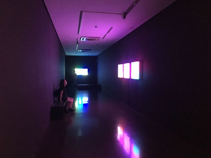 """Extrait de l'exposition Brian Eno """"Lightforms / Soundforms"""" en collaboration avec le Sónar Indoors  Lifestyles Walking (null)Real People Women One Person Illuminated Standing Adult Exposition Art Culture Exposition Barcelone Ambiance Music Ambient Violet"""