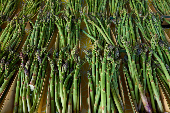 Fresh Cut Asparagus Close-up Farmer's Market Fresh Cut Green Healthy Food Spring Vegetable