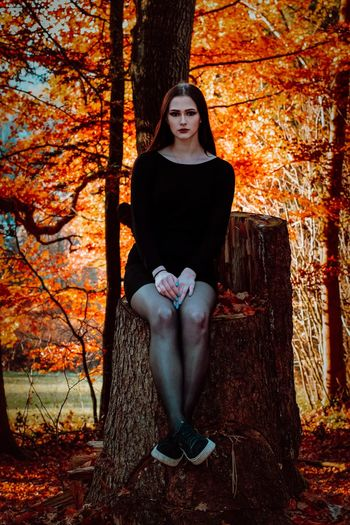 Portrait of young woman sitting on tree stump during autumn