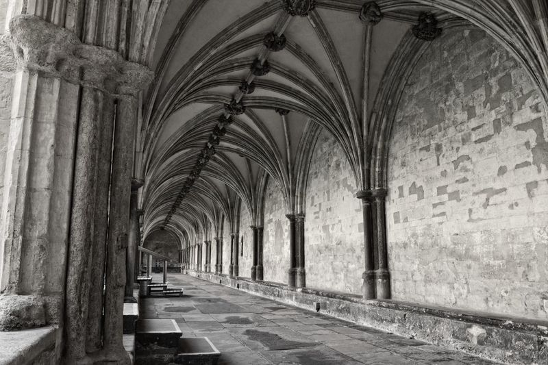 Arch Architectural Column Architecture Blackandwhite Built Structure Cathedral Ceiling Cloister Corridor Diminishing Perspective History Indoors  Norwich The Way Forward Vanishing Point Showcase April