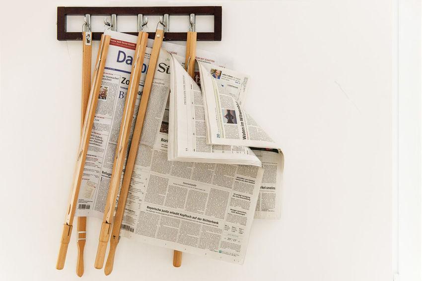 Close-up Day Holz Indoors  Newspaper Holder No People Wallpaper Wanderlust Weiße Wand White Background Zeitungshalter