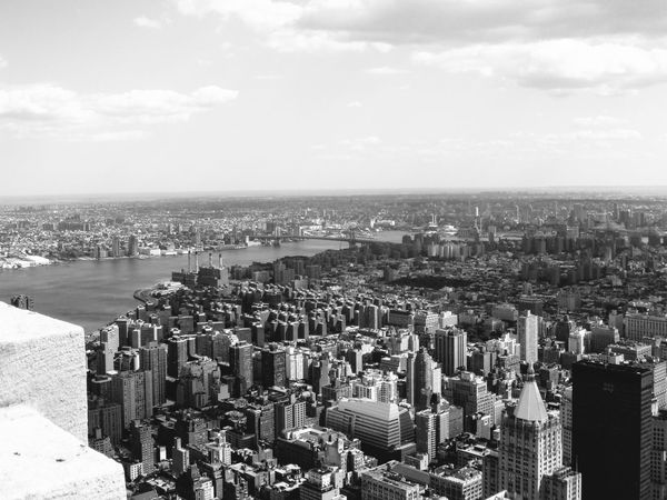 Aerial View Architecture Black And White Blackandwhite Building Exterior Built Structure City City Cityscape Cityscape Cloud - Sky Day Empire State Building Flying High Nature New York No People Outdoors Overview Sea Sky Skyscraper Urban Landscape Urban Skyline Water