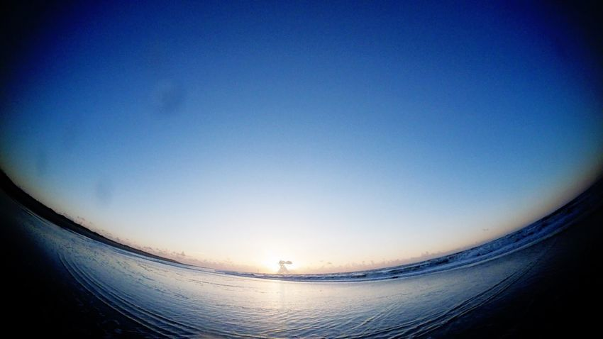Wide angle actioncam sunset at the beach with water drops on the lens Blue Water Sea Nature Tranquil Scene Fish-eye Lens No People Outdoors Sunset Beach Norderney Norderney Ist Mein Hawaii Germany Outdoors Photograpghy