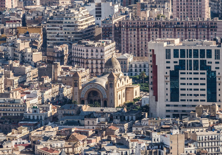 High angle view of oran city buildings