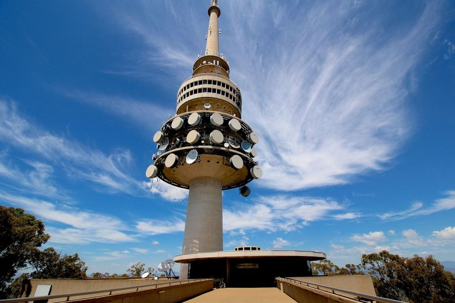 Telstra Tower, Black Mountain, Canberra Architecture Black Mountain Building Exterior Built Structure Canberra Communications Tower Factory Famous Place International Landmark Looking Up Low Angle View No People Outdoors Perspective Sky Spirituality Street Light Tall - High Telstra Tower Tower Travel