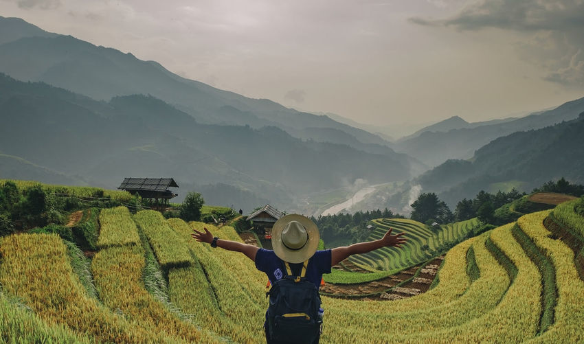 Rear view of man with arms outstretched standing on terraced field