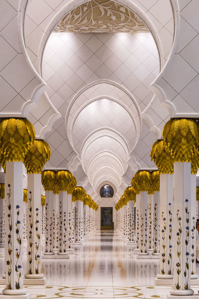 Abu Dhabi Arch Architectural Column Architecture Built Structure Ceiling Corridor Day Dome Illuminated Indoors  Modern Mosque No People The Way Forward Travel Destinations UAE