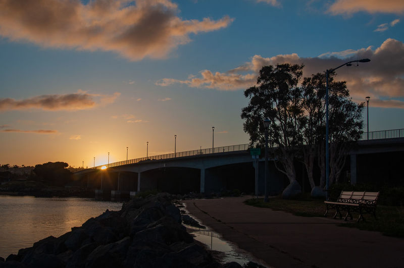 Spanish Landing Ntc / Trail Sky Sunset Bridge Cloud - Sky Bridge - Man Made Structure Water Transportation Built Structure Architecture Connection Nature River Tree No People Beauty In Nature Outdoors Plant Orange Color Rock