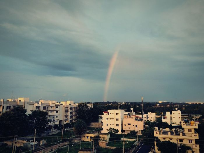 Rainbow in a residential settlement