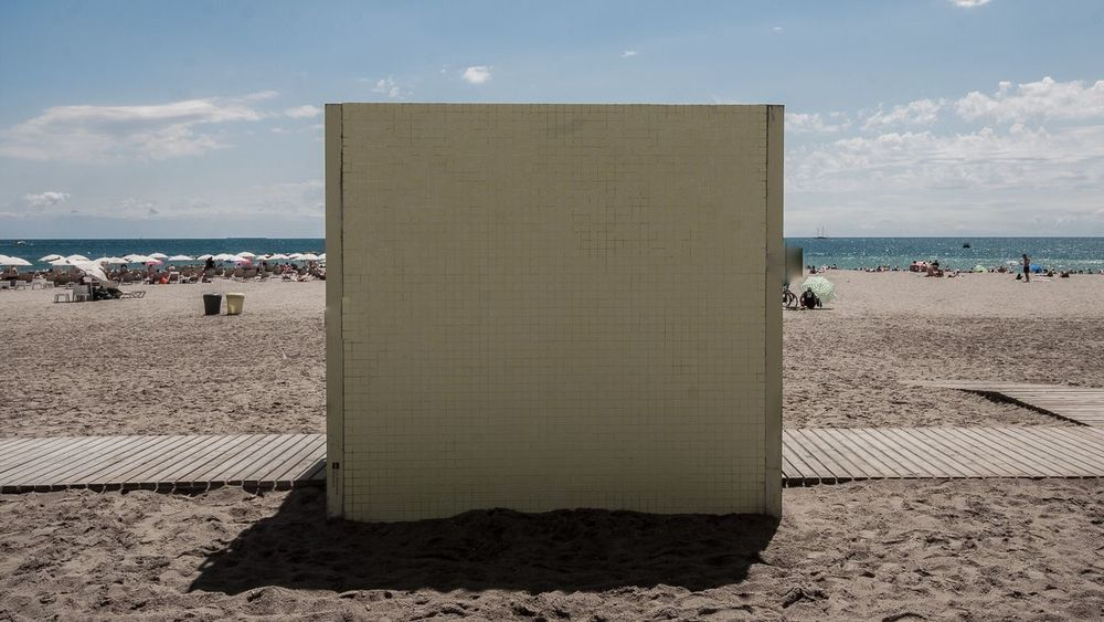 alone as a cube on a beach Sea Beach Horizon Over Water Water Sky Scenics Sand Cube Empty Fill The Frame Frame Frame It! Incomplete Alone Lonely Loneliness Incommunicability No Comunication Minimalism Minimal Architecture Architectural Detail