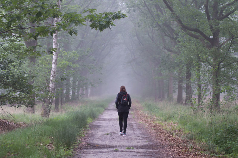Rear View Of Backpack Woman Walking On Road Amidst Trees On Field In Foggy Weather