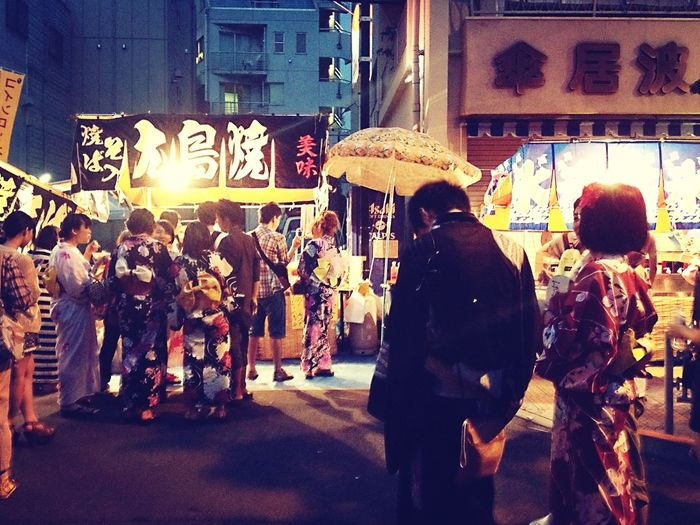 Market stall at night