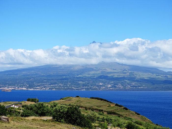 Azores Water Sea Mountain Beach Blue Rural Scene High Angle View Sunny Sky Horizon Over Water Seascape Rocky Coastline