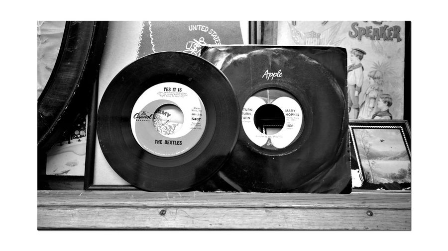 How I Long For Yesterday 7 The Beetles Old 45's Real Music Posters Antique Shop Bnw_friday_eyeemchallenge Bnw_retrospect Nostalgia The Good Old Days Monochrome_Photography Monochrome Black & White Black & White Photography Black And White Black And White Collection  Display Shelf Vinyl Records Collectibles Old Pictures Old-fashioned Retro Styled Antique Photography Themes Arts Culture And Entertainment Vintage Record Analog