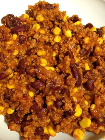Chili  sin carne with Corn and Soy POV Vegan Food Beans What's For Dinner? Vegetarian Food 365 Photos In 2015
