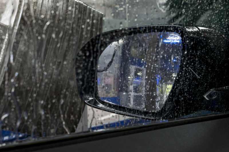 View from the car going through carwash Car Carmirror Carmirrorshot Carwash Carwashing Carwashmachine Carwindow Carwindowphotography Clean Cleaning Dirt Foam Mirror Rearview Water Winter