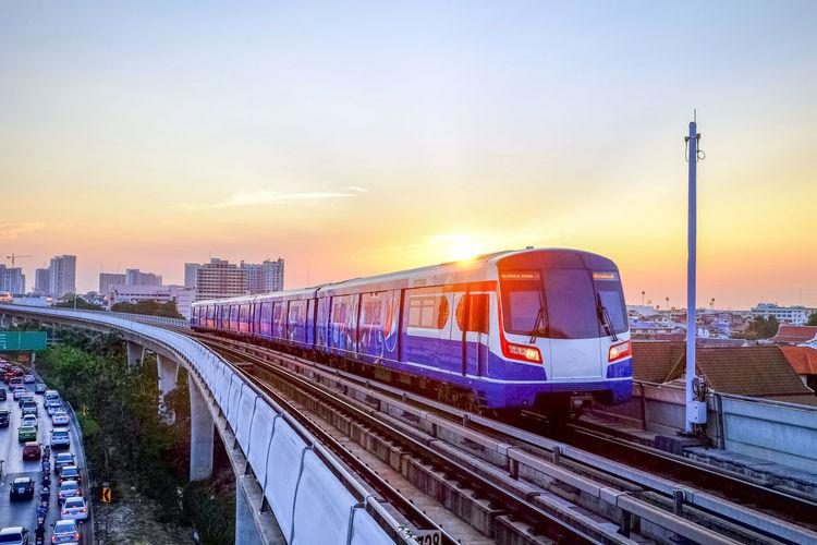 Bts sky train on bangkok, thailand
