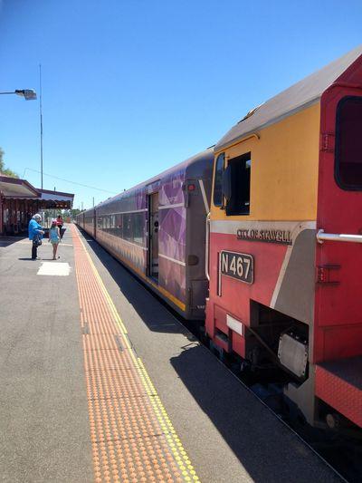 Transportation Train - Vehicle Railroad Station Platform Sunny Railroad Station Sky Red
