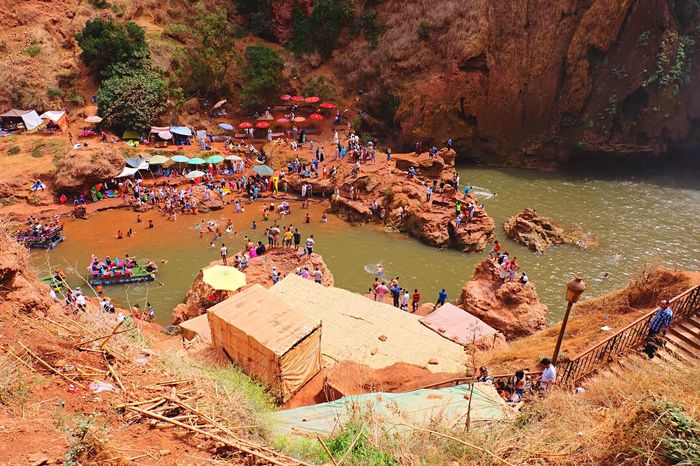 Cascade Ouzoud Morocco People Boats Waterfall