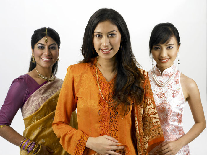 malaysia young woman in traditional costumes Friends Indian Traditional Clothing Baju Kebaya Bubby Cheerful Cheongsam Chinese Friendship Group Of People Harmony Malay Ethnicity Malaysian Merdeka Mixed Race Multi Racial Portrait Racial Sari Smiling Together Togetherness United White Background Women